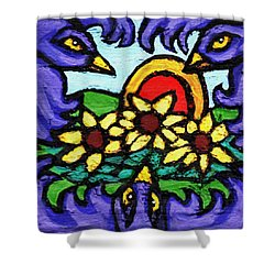 Three Crows And Sunflowers Shower Curtain by Genevieve Esson