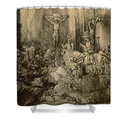 Three Crucifixes Shower Curtain by Rembrandt Harmenszoon van Rijn