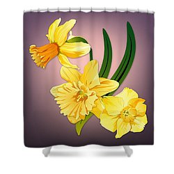 Shower Curtain featuring the digital art Three Daffodils by MM Anderson