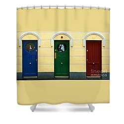 Shower Curtain featuring the photograph Three Doors by PJ Boylan
