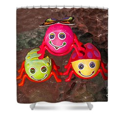 Three Easter Egg Bugs Shower Curtain by Sue Smith