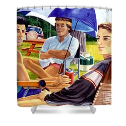 Three Friends Camping Shower Curtain by Stan Esson