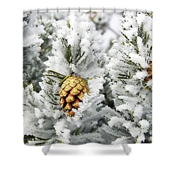 Three Frosty Cones Shower Curtain by Marilyn Hunt