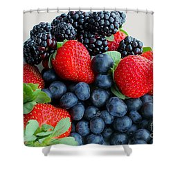 Three Fruit 2 - Strawberries - Blueberries - Blackberries Shower Curtain by Barbara Griffin