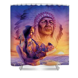 Three Generations Shower Curtain by Andrew Farley
