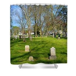 Three Gravestones Shower Curtain by Alys Caviness-Gober