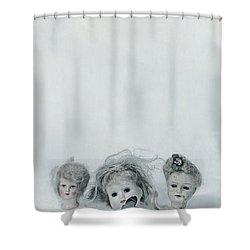 Three Heads Shower Curtain by Joana Kruse