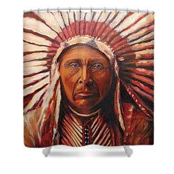 Three Horses, Native American  Shower Curtain