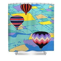 Three Hot Air Balloons Arial Absract Landscape - Square Format Shower Curtain