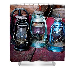 Three Kerosene Lamps Shower Curtain by Susan Savad