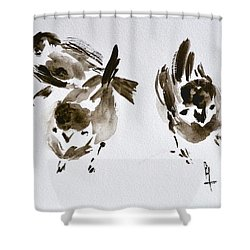 Three Little Birds Perch By My Doorstep Shower Curtain