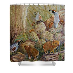 Three Little Javelinas Shower Curtain