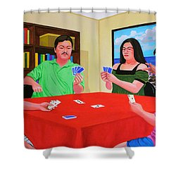 Three Men And A Lady Playing Cards Shower Curtain
