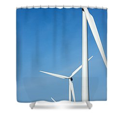 Three Mighty Windmills In A Row Against A Blue Sky. Shower Curtain