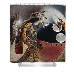 Three Moon Eagle Shower Curtain