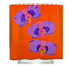 Shower Curtain featuring the mixed media Three Orchids by Michele Myers