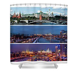 Three Panoramas Of Moscow Kremlin - Featured 3 Shower Curtain