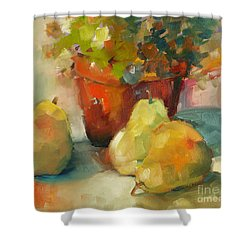 Three Pears And A Pot Shower Curtain