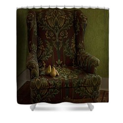 Three Pears Sitting In A Wing Chair Shower Curtain by Priska Wettstein