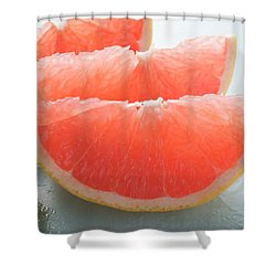Three Pink Grapefruit Wedges, Leaves Beside Them Shower Curtain