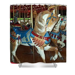 Shower Curtain featuring the photograph Three Ponies In White And Brown - Ct by Barbara McDevitt