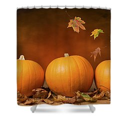 Three Pumpkins Shower Curtain by Amanda Elwell