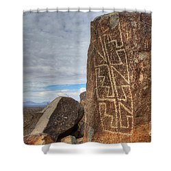 Three Rivers Petroglyphs 4 Shower Curtain by Bob Christopher