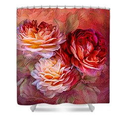 Shower Curtain featuring the mixed media Three Roses - Red by Carol Cavalaris