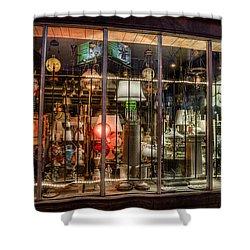 Three Shade Lamp Store Shower Curtain by Mark Goodman