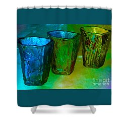 Three Smoke Fired Vases Shower Curtain by Joan-Violet Stretch