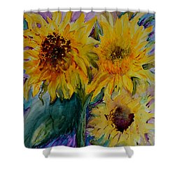 Three Sunflowers Shower Curtain by Beverley Harper Tinsley