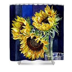 Three Sunny Flowers Shower Curtain