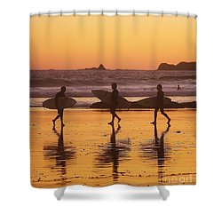 Three Surfers At Sunset Shower Curtain