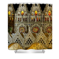 Three Tiers - Sagrada Familia At Night - Gaudi Shower Curtain