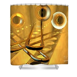 Three Trombones Shower Curtain