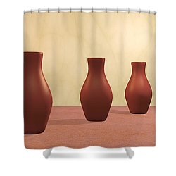 Shower Curtain featuring the digital art Three Vases by Gabiw Art