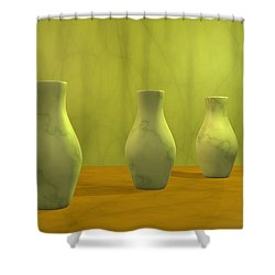 Shower Curtain featuring the digital art Three Vases II by Gabiw Art
