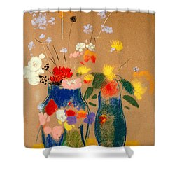 Three Vases Of Flowers Shower Curtain by Odilon Redon