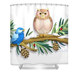 Three Watchful Friends Shower Curtain