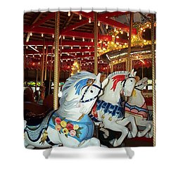 Shower Curtain featuring the photograph Three White Ponies by Barbara McDevitt