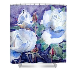 Shower Curtain featuring the painting White Roses With Red Buds On Blue Field by Greta Corens