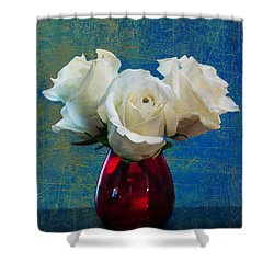 Three White Roses Shower Curtain