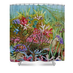 Thriving Ocean -sunken Ship Shower Curtain by Katherine Young-Beck