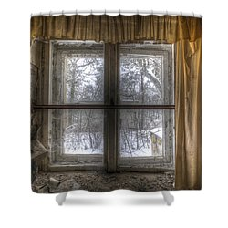 Through The Dirty Window Shower Curtain by Nathan Wright