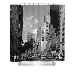 Shower Curtain featuring the photograph Through The Looking Glass In Black And White by Meghan at FireBonnet Art