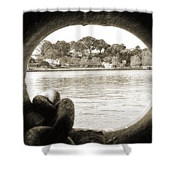 Through The Porthole Shower Curtain by Holly Blunkall