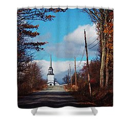 Shower Curtain featuring the photograph Through The Trees View Of The Norlands Church Steeple by Joy Nichols