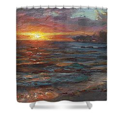 Through The Vog - Hawaii Beach Sunset Shower Curtain