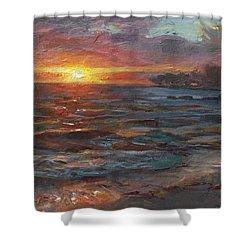 Through The Vog - Hawaii Beach Sunset Shower Curtain by Karen Whitworth