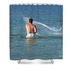 Throwing The Net Shower Curtain